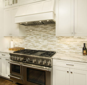 custom white kitchen cabinetry built by DM Builders, Idaho home construction