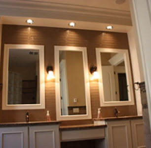 master bathroom vanity with two sinks built by DM Builders, Idaho home construction