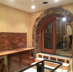 entrance to wine cellar built by DM Builders, Idaho home construction