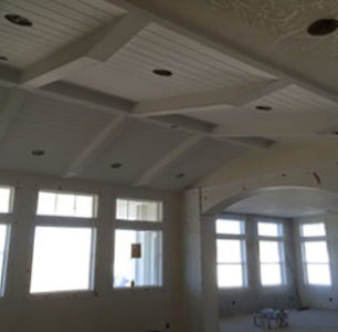 vaulted ceiling with beams built by DM Builders, Idaho home construction
