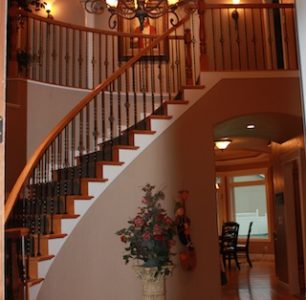 grand staircase built by DM Builders, Idaho home construction