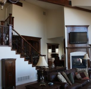 custom living room with staircase built by DM Builders, Idaho home construction