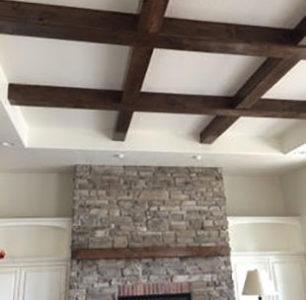 beautiful exposed beam ceiling at DM Builders, Idaho home builder