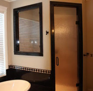 custom master bathroom with shower, DM Builders, Idaho home builder