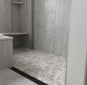 Pocatello Home Builders, Natural grey tile, Floor Level Linear Drain for Full ADA compliant access to shower